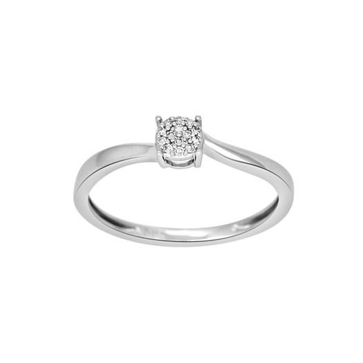 14 karat hvidguld ring med brillianter