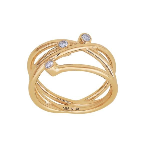 Siersbøl - 14kt. guld ring med 3 diamanter på i alt 0,12ct W/si