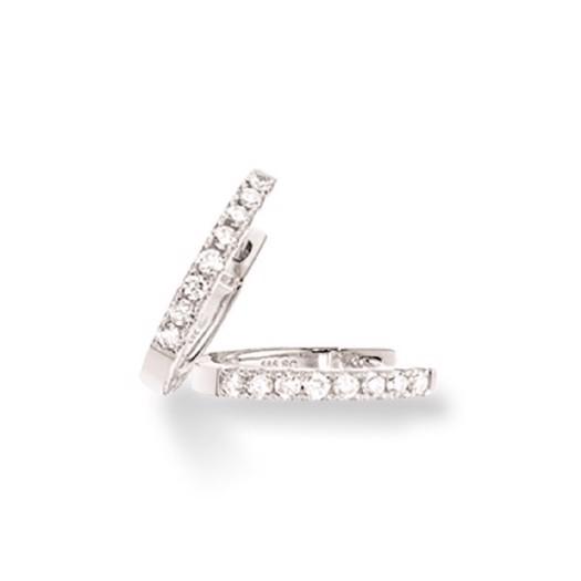 Dazzling - 14 kt hvidguld clip creoler med 0,22ct diamanter