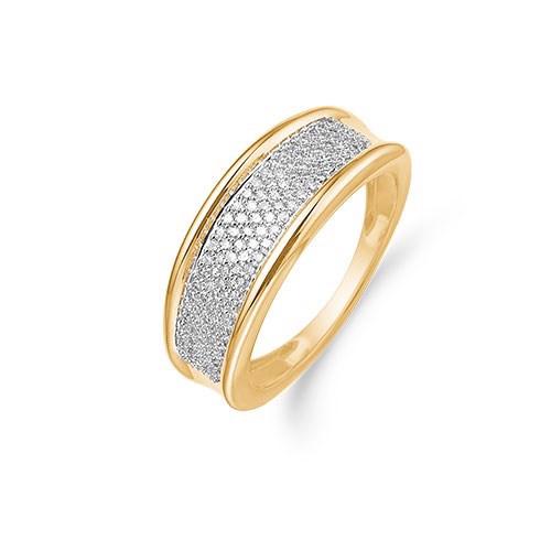 Guld ring i 14kt med flere 0,0021ct brillanter