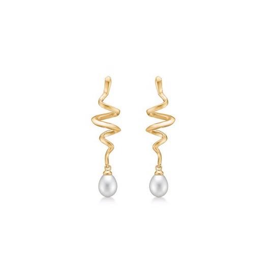 Mads Z - Swirl øreringe i 14 karat guld med perle