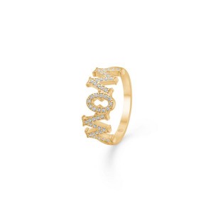 WOW / MOM ring i 14 kt guld m. brillant 0,23ct fra Mads Z