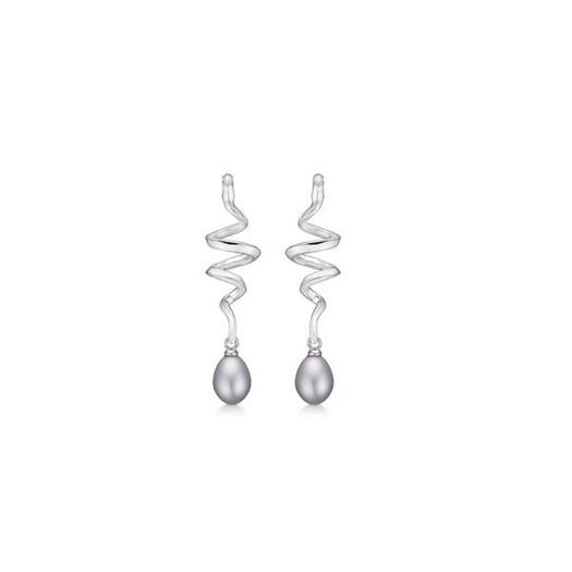Mads Z - Swirl w. Pearl øreringe i sølv