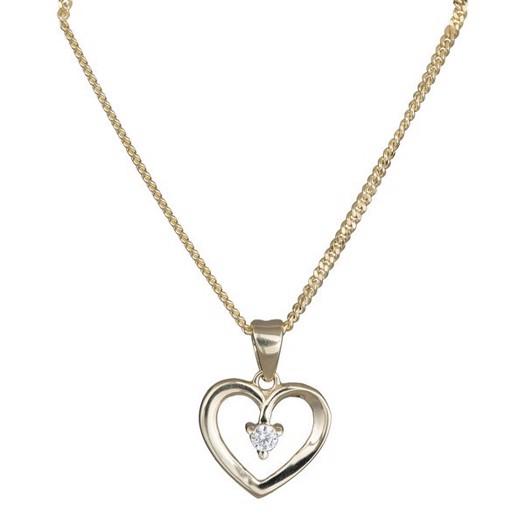 8kt. guld hjerte vedhæng med zirkon