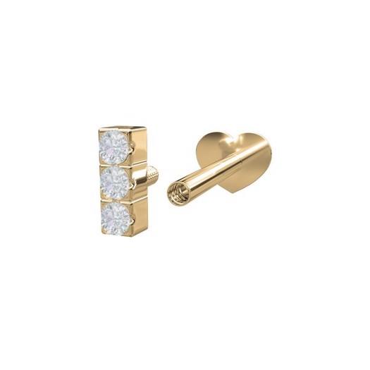 Piercing smykker - Pierce52, 14kt. labret piercing med 3 diamanter lodret