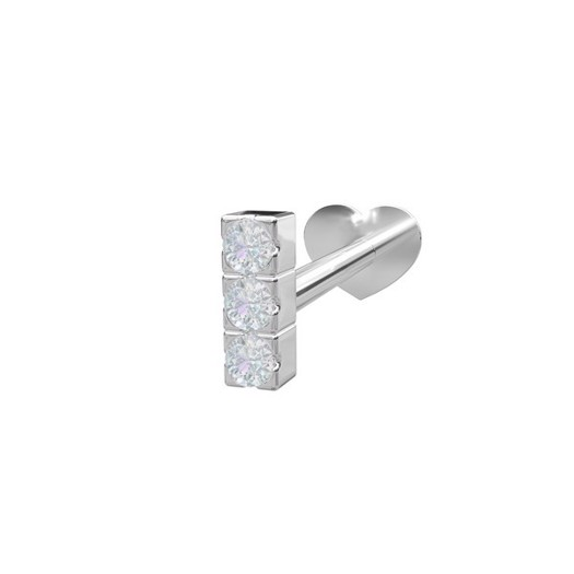 Piercing smykker - Pierce52, Rhod. sølv, Labret med zirkonia