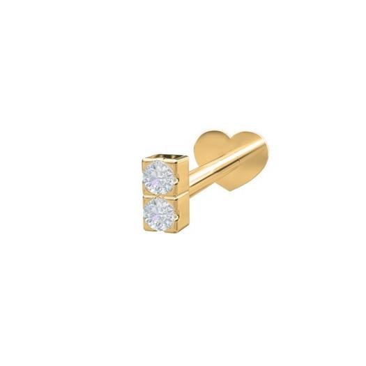 Piercing smykker - Pierce52, 14kt. labret piercing med to diamanter lodret