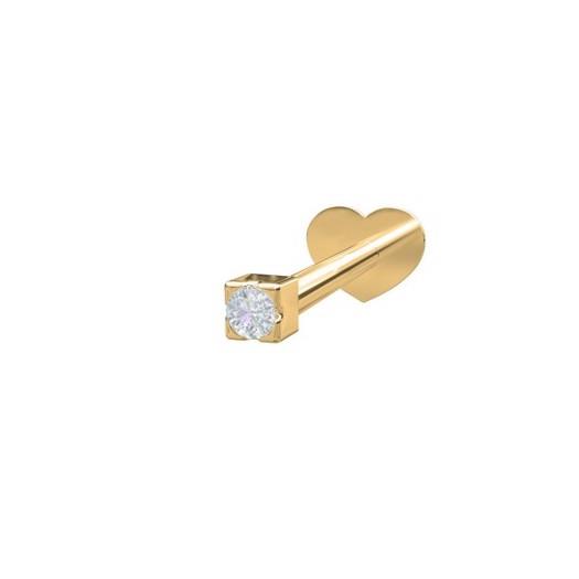 Piercing smykker - Pierce52, 14kt. guld labret piercing med diamant