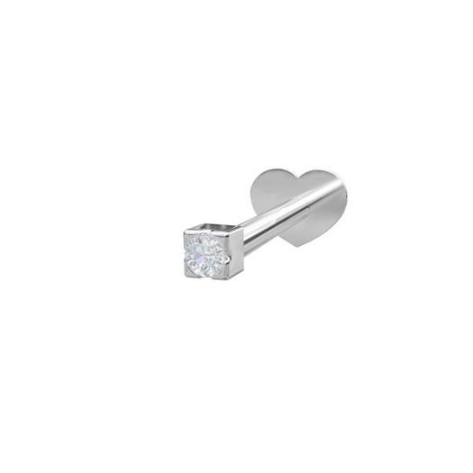 Piercing smykker - Pierce52, sølv labret med zirkonia