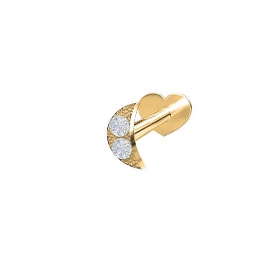 Piercing smykker - Pierce52, 14 kt. guld labret med måne og diamanter