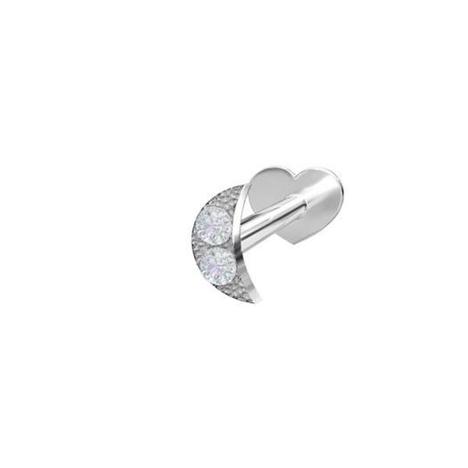 Piercing smykker - Pierce52, sølv labret med måne og zirkonia