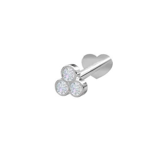 Piercing smykker - Pierce52, sølv Labret3-piercing med zirkonia