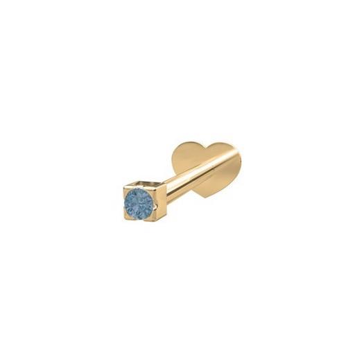 Piercing smykke - PIERCE52 Labret-piercing blå topaz 14kt. guld