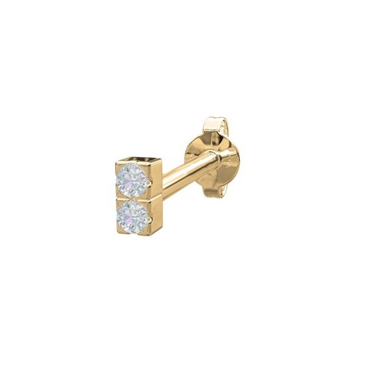 Piercing smykker - Pierce52, 14kt. guld ørestik m. 2 diamanter lodret