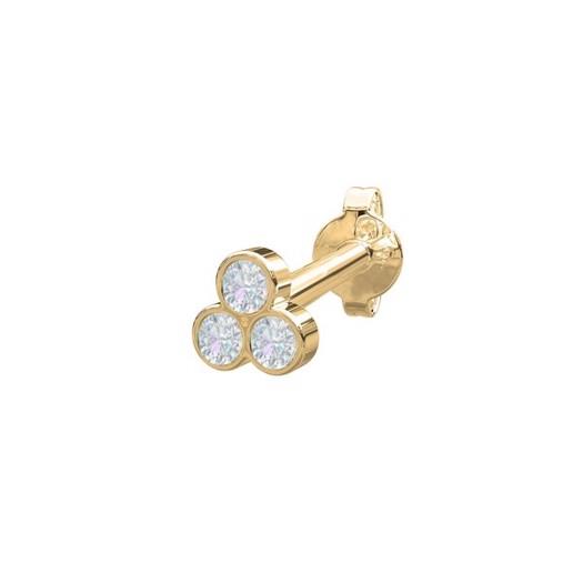 Piercing smykker - Pierce52, 14kt. guld ørestik m. 3 diamanter i blomst