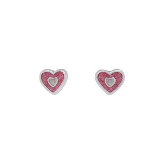 Sølv hjerte ørestikker med pink glimmer**
