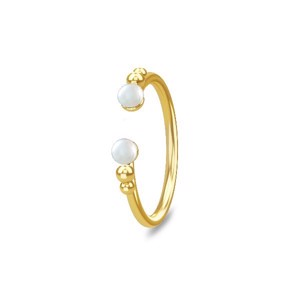 Spinning Jewelry forgyldt ring - Open Pearl forgyldt