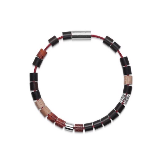 Black Sun MONTANITA BEACH, ECUADOR rød nylon og perler m. sølvlås