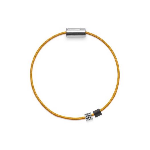 Black Sun Basisarmbånd i gul nylonsnor og m. sølvlås