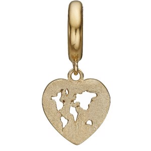 Christina Collect - WORLD HEART forgyldt charm til læderarmb.