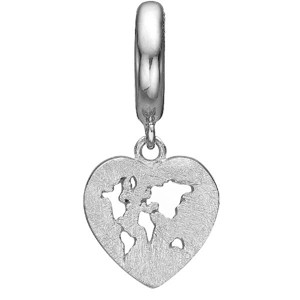 Christina Collect - WORLD HEART sølv charm til læderarmbånd.