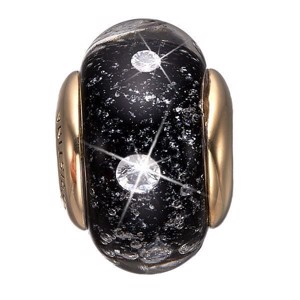 Christina Collect - Forgyldt sølv charm - Black Topaz Globe
