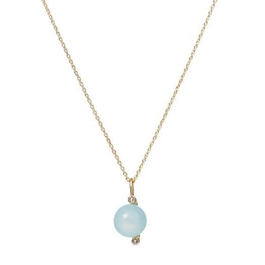 Spinning Jewelry, Horizon halskæde, aqua kalcedon, 60cm.