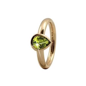 "Christina Collect forgyldt sølv ring ""PERIDOT PEAR"""