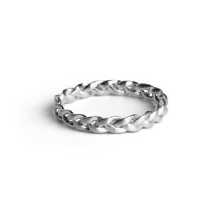 Jane Kønig Braided medium ring i mat sølv