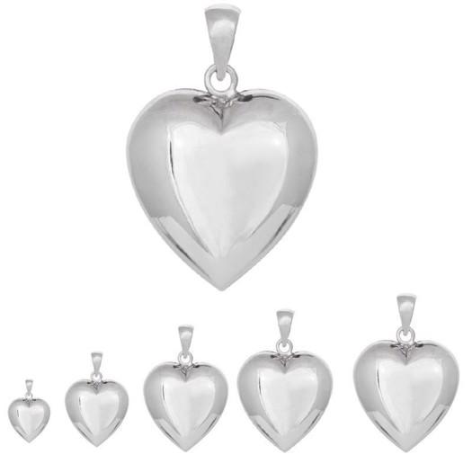 Hjerte vedhæng i sølv - 5 størrelser