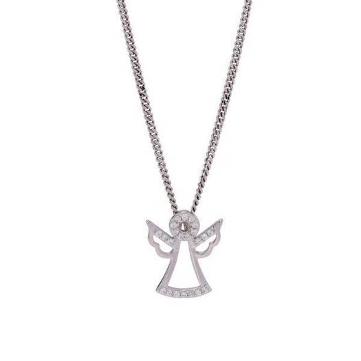 Sølv vedhæng - engel m. zirkonia sten inkl. kæde