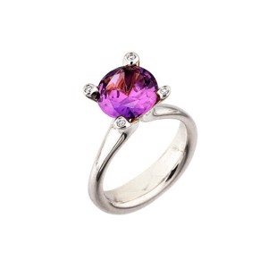 Cocktail ring i 14 karat Hvidguld med Amethyst og Diamanter L1899am