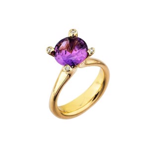 Cocktail ring i 14 karat Guld med Amethyst og Diamanter L1899am