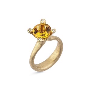 Cocktail ring i 14 karat Guld med Citrin og Diamanter L1899ci