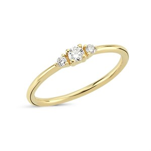 Petit - Diamantring i 14 kt. guld med i alt 0,15ct. diamanter