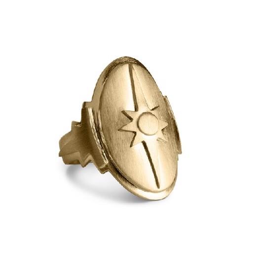 Jane Køng Shield ring i mat forgyldt sølv