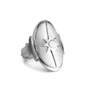 Jane Køng Shield statement ring i mat sølv
