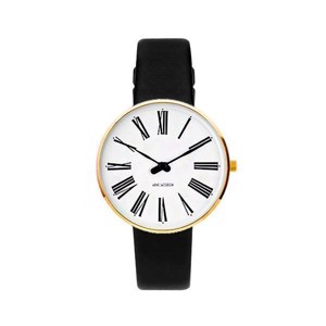 Arne Jacobsen ur - Roman -  Ø34 mm - Forgyldt & Sort læderrem