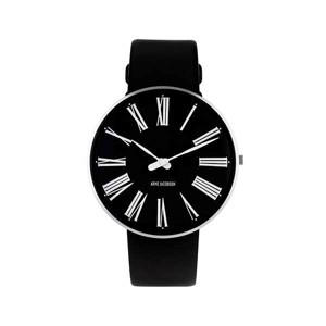 Arne Jacobsen ur - Roman - Ø 40 mm - Sort skive med Sort læderrem