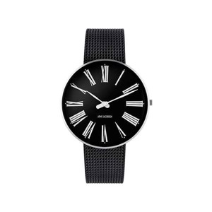 Arne Jacobsen ur - Roman - Ø 40 mm - Sort skive med Sort meshlænke