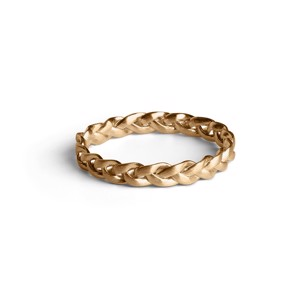 Jane Kønig Braided small ring i mat forgyldt sølv