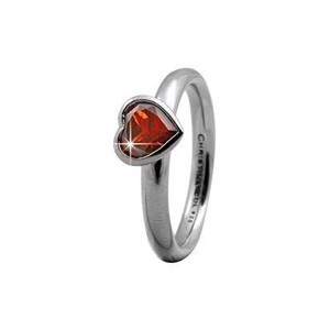 "Christina Collect Sølv Ring ""GARNET BIG HEART""**"