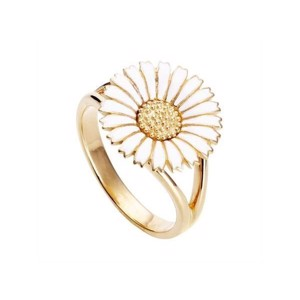 Marguerit ring 15 mm hvid/forg
