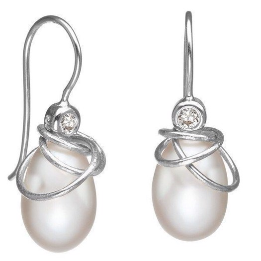Rabinovich Magic Circles - Sølv Øreringe med Hvid Perle og zirkon
