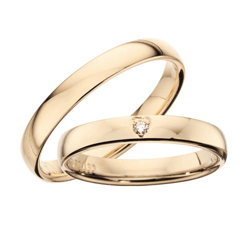 Vielsesringe - 8-14 kt guld i 3,5 mm 0,02ct.