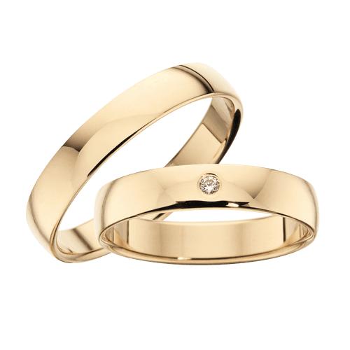 Vielsesringe - 8 kt guld med 0,02 ct brillant 4 mm