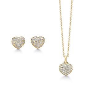 10b85492fab STORY smykke sæt - Hjerte halskæde og øreringe i forgyldt Sølv med Zirkonia