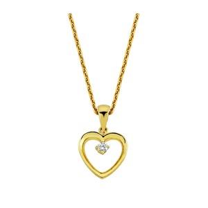 0c289c40fa0 14 kt. Guld hjerte halskæde med en brilliant med 0,02ct brilliant
