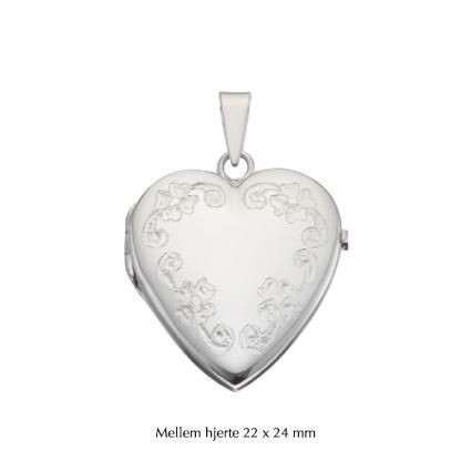 Hjerte Medaljon med mønster i sølv - Medium 22x24