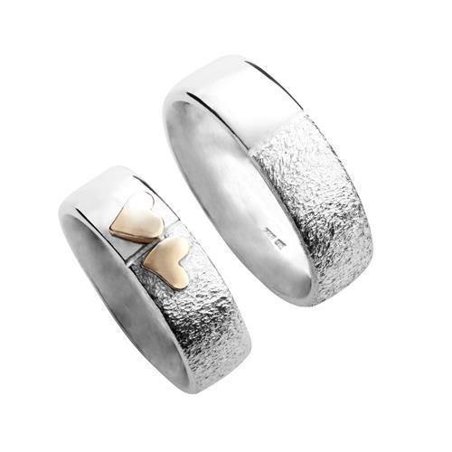 Sølvringe med 14 karat guld hjerter - Blank & rustik overflade